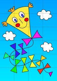 Skládačka a omalovánka: Papírový drak | Zlobidlo.cz Art Drawings For Kids, Drawing For Kids, Kites Craft, Board Decoration, Oil Pastel Drawings, Morning Pictures, Preschool Art, Painting For Kids, Craft Gifts