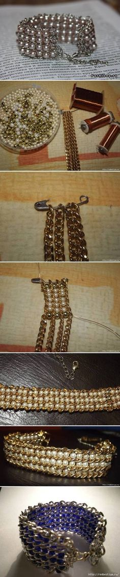 How To Make pretty jewelry like Beads and Chains wrist band Bracelet step by step DIY tutorial instructions / How To Instructions