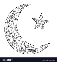 Ramadan Kareem half moon vector image on VectorStock Moon Coloring Pages, Adult Coloring Book Pages, Printable Adult Coloring Pages, Mandala Coloring Pages, Coloring Books, Mandalas Painting, Mandalas Drawing, Moon Mandala, Mandala Tattoo