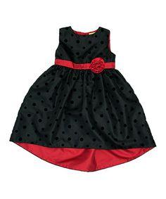 Another great find on #zulily! Black Polka Dot A-Line Dress - Infant, Toddler & Girls #zulilyfinds