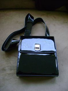 Vintage Stuart Weitzman Black Patent Handbag 1980s by truthorwear, $135.00