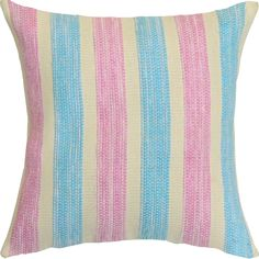 Pink And Green Hand-crafted Spun by Welspun 16-inch Throw Pillow