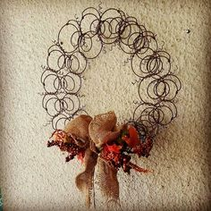 This years fall wreath made from vintage repurposed bed springs