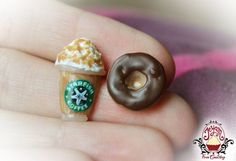 Starbucks Frappuccino and Chocolate Doughnut - Stud Earrings