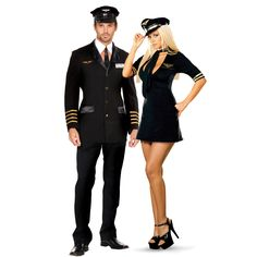 Pilot and Flight Attendant Couples Costume