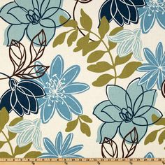 Magnolia Home Fashions Monaco Breeze from @fabricdotcom  This versatile fabric is screen printed on a 6.2 ounce cotton. Perfect for window treatment (valances, swags, draperies, and curtains), toss pillows, chair cushions, duvet covers, bed skirts, upholstery, slipcovers, totes, aprons and much more! Colors include medium and dark blue, chartreuse, brown and ivory.