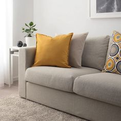 Buy IKEA GURLI Cushion Cover, Golden-Yellow A popular cushion cover that's easy to mix and match with other solid-coloured or patterned cushions. Modern Cushions, Yellow Cushions, Large Cushions, Cushions On Sofa, Ikea Yellow, Large Cushion Covers, Ikea Family, Room Darkening Curtains, Gray Sofa