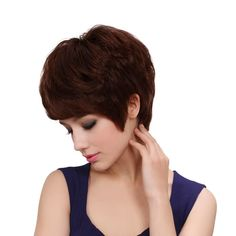 Bigood Mature Fluffy Curly Short Light brown Inclined bang Lady Full Wig 22cm >>> Learn more by visiting the image link.