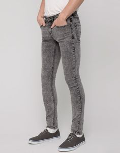 Pull&Bear - hombre - jeans - jeans super skinny fit - gris claro - 09684591-V2016