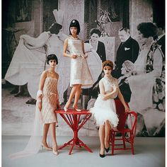 Audrey Sedor, Hiroko and Orla all in Nina Ricci's short evening dresses, photo by Mark Shaw, 1961. who would you be?
