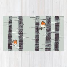 """""""Robin Trees"""" Rug by Sandra Dieckmann on Society6."""