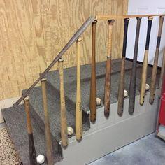 Old baseball bat railing leading up to my husbands man attic!!