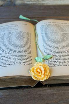 Crochet Flower Bookmark Handmade Yellow Rose. $15.00, via Etsy.