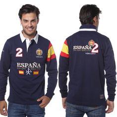 Tu chico es un 😍 enamorado de este tipo de prendas?  La verdad que sientan muy bien. Son cómodas, visten y van muy guapos.  Si durante la semana solo pueden llevar trajes de chaqueta serios y aburridos déjales que el fin de semana disfruten de estos looks.  Polo rugby con la bandera de España 🇪🇸 en azul marino por 69,90 euros.  El regalo 🎁 perfecto para que te coman a 😘 besos.  http://www.valecuatro.com/es/rugby/2732-rugby-h-espana-azul-marino.html