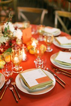 La Tavola Fine Linen Rental: Nuovo Burnt Orange with Nuovo Mustard Napkins | Photography: Laura Ford Photography, Venue & Catering: Standford Sierra Center, Planning & Design: Jacqueline Hallgarth, Florals: Amanda Vidmar Designs, Rentals: Celebrations Party Rentals, Paper Goods: Lotus & Ash