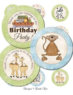 INSTANT DOWNLOAD Noah's Ark CHRISTian Printable 2 Inch Cupcake Toppers ~ CHRISTIAN Water Bottle Labels~ Giraffe and Monkey ~ DIY Party Supplies  These labels are a fun and inexpensive treat for your child's birthday! They also make great party favors!