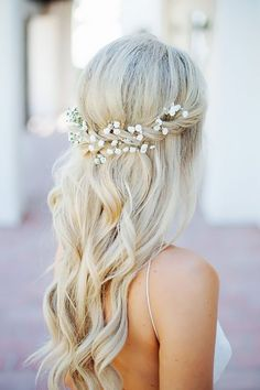wedding bridesmaid hairstyles half up-half-down-with accessories for long hair