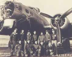 Shirley Jean - 91st Bomb Group (H) 324th Squadron and 323rd Squadron- Lt. Lindahl's crewWillis Burrage (Asst. Crew Chief); Unknown; Sgt. Doyle E. Humphrey, Engineer/Top Turret Gunner (Idabel, Oklahoma), Unknown; Unknown; Lt. John Lindahl, Pilot; Lt. Anthony A. Japak, Bombardier (Donora, Pennsylvania).  Front Row - Left to Right  Sgt. Raymond E. Bisson, Radio Operator (Barre, Vermont); Sgt. Gladyes (Jack) Wallace, Waist Gunner (Hayward, California); Sgt. Michael Fenchalk, Tail Gunner