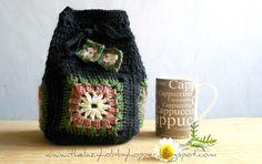 Granny square drawstring bag