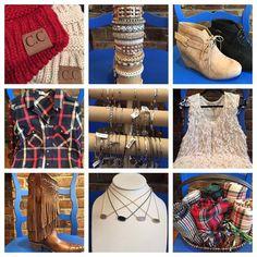 These are a few of our favorite things...... C.C Beanies- $12.95 Rose Gonzalez bracelets- $19.95 Wedge Booties- $32.95 Plaid Shirt- $29.95 Brighton Art &Soul Bracelets- $34 Cream Shag Vest- $38 Fringe Corral Boots- $349- 30% off Kendra Scott Drusy Necklace- $65 Plaid Blanket Scarves- $21.95