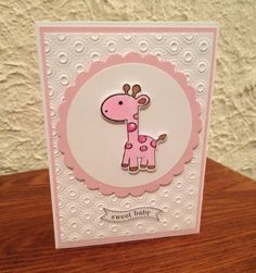 Handmade+Pink+Giraffe+Baby+Girl+Card+by+Wishesfromtheheart+on+Etsy,+$2.50