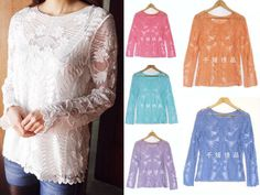 Women Sheer Flare Sleeve Embroidery Floral Lace Crochet Tee T-Shirt Top Blouse #New #Blouse #Casual
