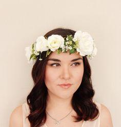 White Rose Woodland Green Leaf Berry Floral Crown - Floral Headband, Flower Crown, Floral Wreath, Wreath, Wedding, Bridal, Festival