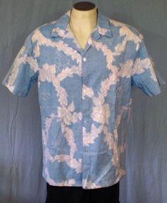 Rai Nani Blue XL Reverse Print Hawaiian Shirt Floral Cotton #RaiNani #Hawaiian