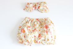 """Baby Bloomers and top knot headband set - """"peachy blooms"""" -  100% cotton lawn floral fabric by LiddleBerry on Etsy https://www.etsy.com/listing/216516513/baby-bloomers-and-top-knot-headband-set"""