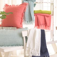 Pine Cone Hill Laundered Linen Coral Decorative Pillow @LaylaGrayce