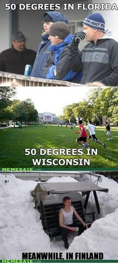 50 degrees in Florida vs Wisconsin vs Finland lol!