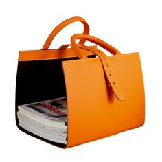 Hermes Pyrenees magazine holder in orange