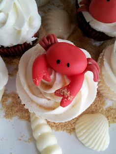 Nautical Photo of the Week: Payton's Crab Shack Party Crab Cupcakes, Animal Cupcakes, Baking Cupcakes, Yummy Cupcakes, Cupcake Cakes, Crab Party, Lobster Party, Seafood Party, Crab Birthday Cakes