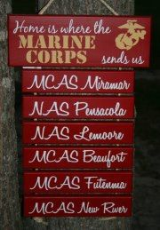 """""""Home is Where the  Marine Corps sends us"""" Painted Military sign decor. $49.00, via Etsy."""