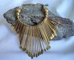 BRASS tribal Necklace Bib Collar Choker BOHO 70s by MushkaVintage3