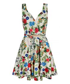 Look what I found on #zulily! White Scuba Floral Skater Dress by Mela London #zulilyfinds