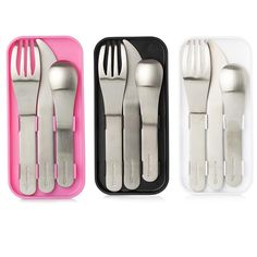 Stainless steel lunch cutlery set replaces plastic, disposable forks