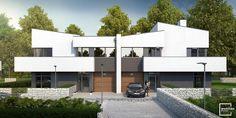 3th stage of Mamurowe Housing Estate in Lodz / Drugi etap osiedla Marmurowe to trzy nowoczesne budynki w zabudowie bliźniaczej, w których zaprojektowano po cztery niepowtarzalne i komfortowe mieszkania, wyposażone w przestronne tarasy i ogrody. Każdy z apartamentów posiada osobne wejście i wjazd oraz garaż wbudowany w bryłę budynku, dzięki usytuowaniu na wewnętrznej działce z dostępem z dwóch równoległych ulic wewnętrznych. Semi Detached, Detached House, Modern Barn House, Home Fashion, Duplex Design, Mansions, House Styles, Home Decor, Balcony
