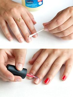 The perfect manicure Before applying your nail polish, apply some lip balm or Vaseline to the skin around your nails. This will prevent any polish from staining your skin — it can be removed easily with a brush or Q-tip as shown here. Vaseline Beauty Tips, Beauty Tips For Skin, Beauty Secrets, Diy Beauty, Beauty Tricks, Natural Beauty, Beauty Makeup, Skin Care Regimen, Skin Care Tips