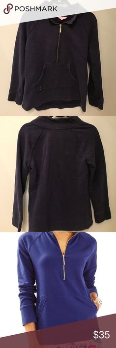 Lilly Pulitzer Small Pullover Sweater Navy Pre-loved Lilly Pulitzer Pullover Navy Sweater. Excellent condition but is faded from being washed. Lilly Pulitzer Sweaters