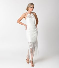 Wedding Dresses 1920s Style White Lace  Fringe Bridal Flapper Dress $88.00 AT vintagedancer.com