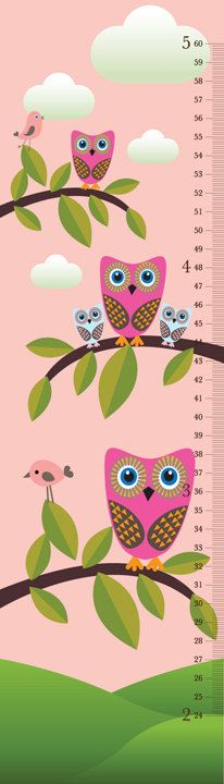 Owls On Tree Branches Growth chart I would love to put this on a wall somewhere and measure them at the start of the year and at the end
