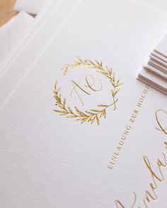 """667 Likes, 22 Comments - M i c h a e l a M c B r i d e (@mmcbridecalligraphy) on Instagram: """"Gold foil pressed olive branch details from the Luminous Collection (and our first full non-English…"""""""