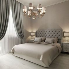 Vintage Bedroom 22 Luxury Traditional Bedroom Design Ideas For Your Classy Home - Bedrooms don't need a lot of additional space, merely a bed, a nightstand or two,… Master Bedroom Design, Home Decor Bedroom, Bedroom Curtains, Gray Curtains, Bedroom Furniture, Bedroom Bed, Master Suite, Bedroom Flooring, Bed Room