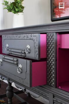 Powerful Punch of Pink: Buffet Makeover by The Wood Spa - but blue with gold inside Funky Furniture, Refurbished Furniture, Paint Furniture, Repurposed Furniture, Furniture Projects, Furniture Makeover, Furniture Decor, Furniture Design, Bedroom Furniture