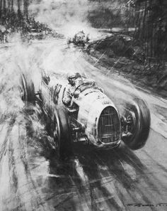 Rosemeyer and Nuvolari at Nürburgring 1936 by Gordon Crosby Chicano, Rockabilly, Auto Union, Silver Car, Ferdinand Porsche, Old School Cars, Mobile Art, Car Posters, Vintage Race Car