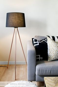 Copper Pipe Tripod Floor Lamp. DIY instructions on how to make this fun lamp inspired by Design Within Reach's Tripod Floor Lamp from Sarah M. Dorsey Designs.
