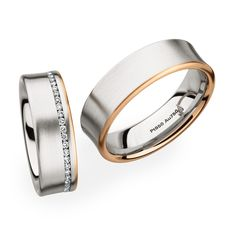 0274108 / 0246795 two-tone wedding bands #matching #christianbauer www.strego.nl