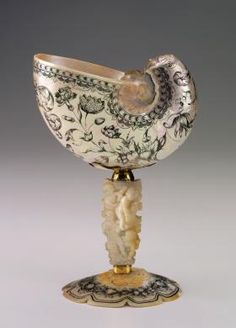 Cornelis van Bellekin  Dutch  circa 1625 - before 1701  Nautilus Shell Cup  second half of the 17th Century  Nautilus Pompilus shell, large marine oyster shell, ink, and brass