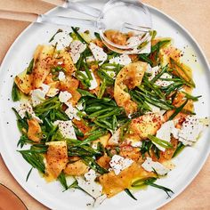 Cantaloupe with Sugar Snap Peas and Ricotta Salata - The sweet but firm flesh of a Honey Kiss melon works especially well for cutting into ribbons; if using cantaloupe, use one that's slightly underripe. Cantaloupe Salad, Watermelon Salad, Mango Salad, Cantaloupe Recipes, Ricotta Salata Recipe, Ricotta Cheese Recipes, Fig Salad, Fennel Salad, Peppadew Peppers